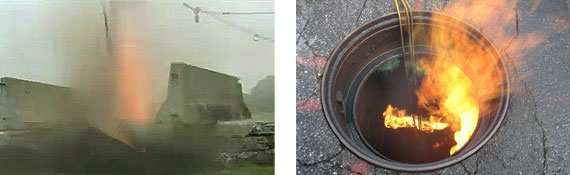Explosion and fire in manhole